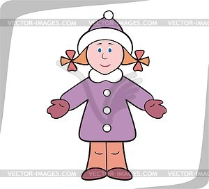 Girl Wearing Winter Clothes   Vector Clipart