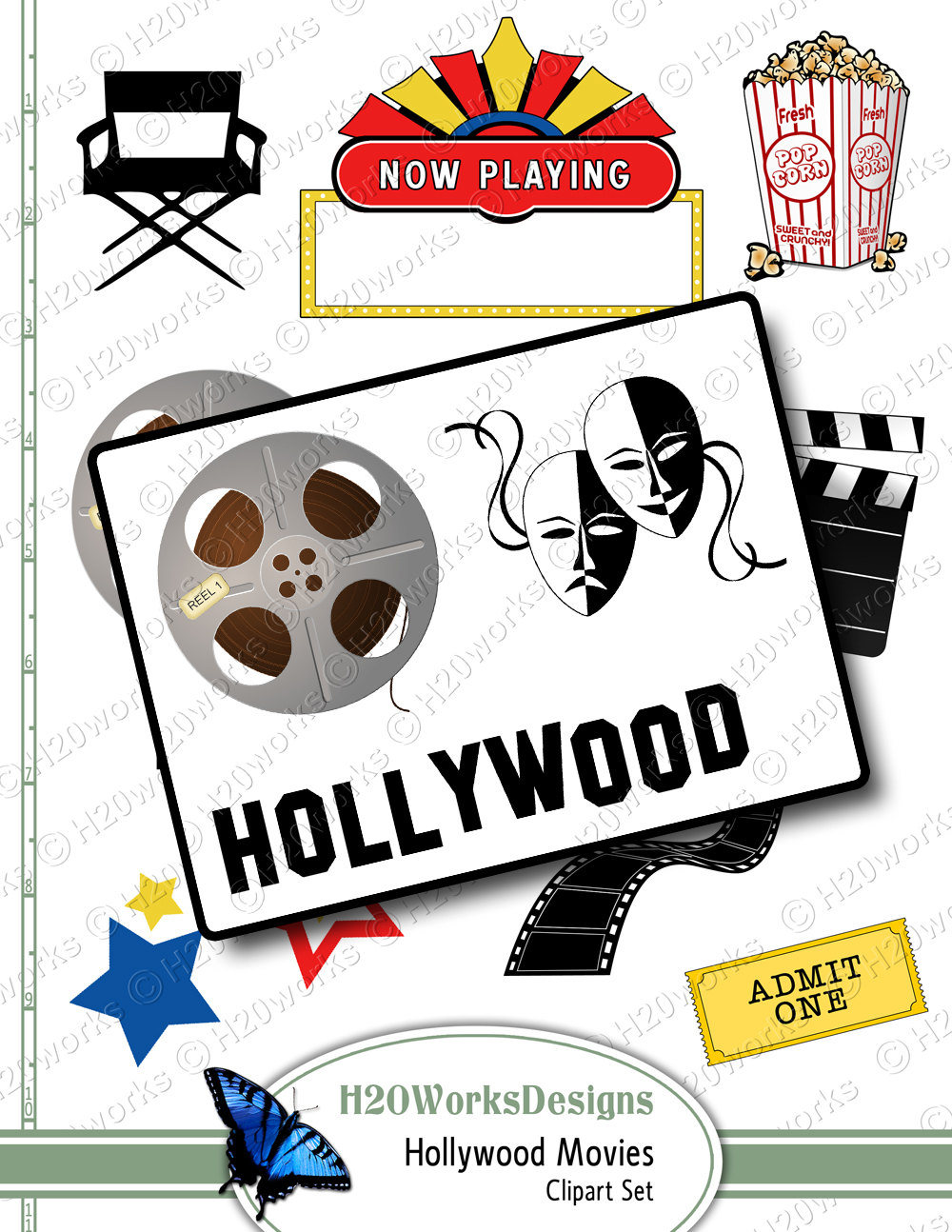 Hollywood Movies Clipart On 8 5x11 Sheet By H20worksdesigns