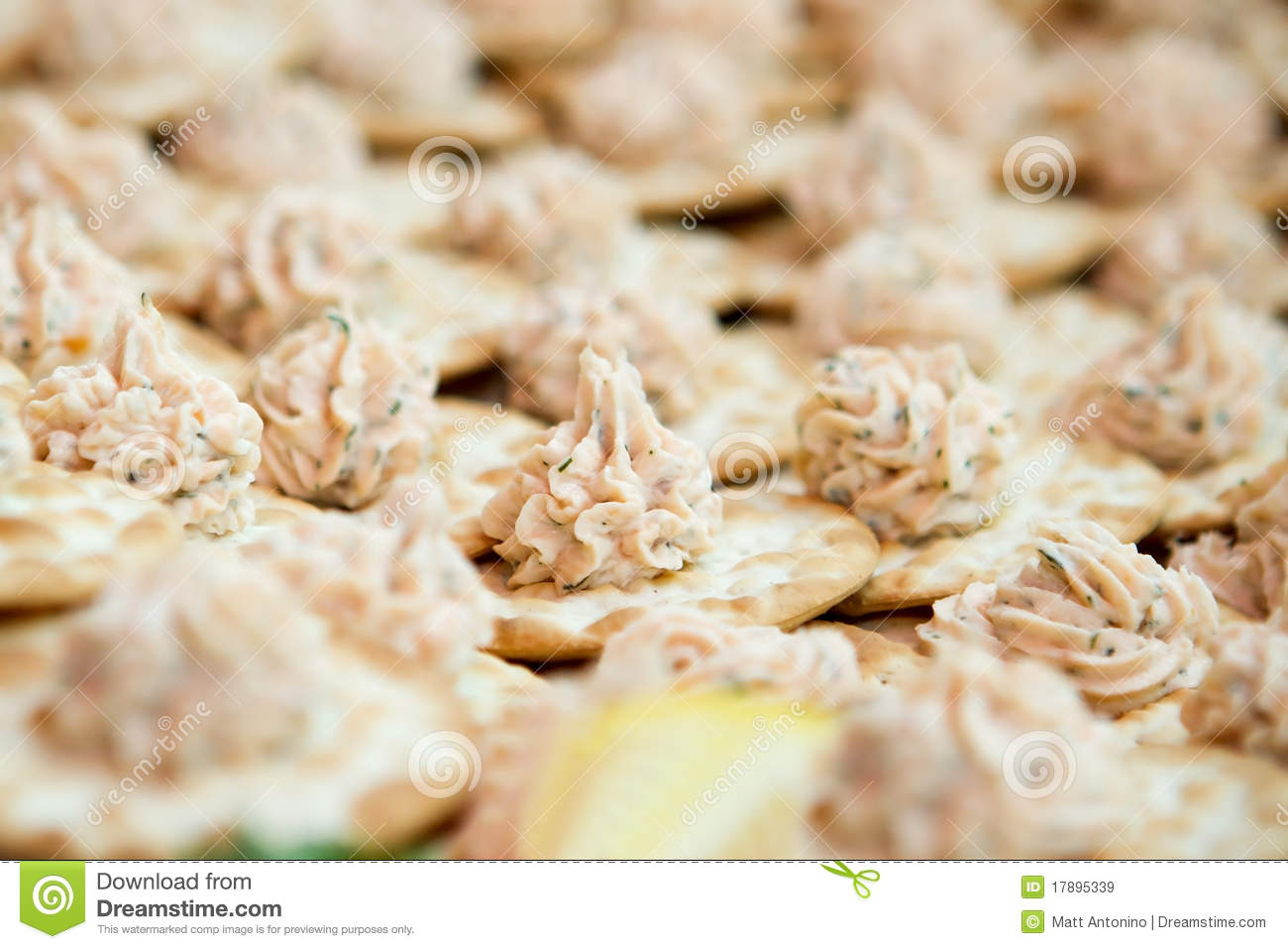 Seafood Dip On Crackers Royalty Free Stock Images   Image  17895339