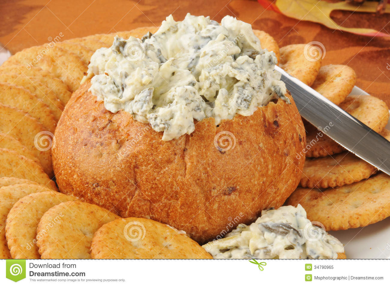 Spinach Artichoke Dip In A Bread Bowl Royalty Free Stock Photo   Image