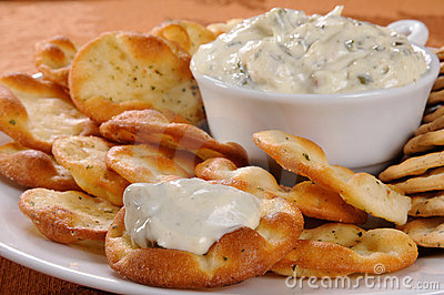 Spinach Dip And Crackers Stock Photo   Image  21472760