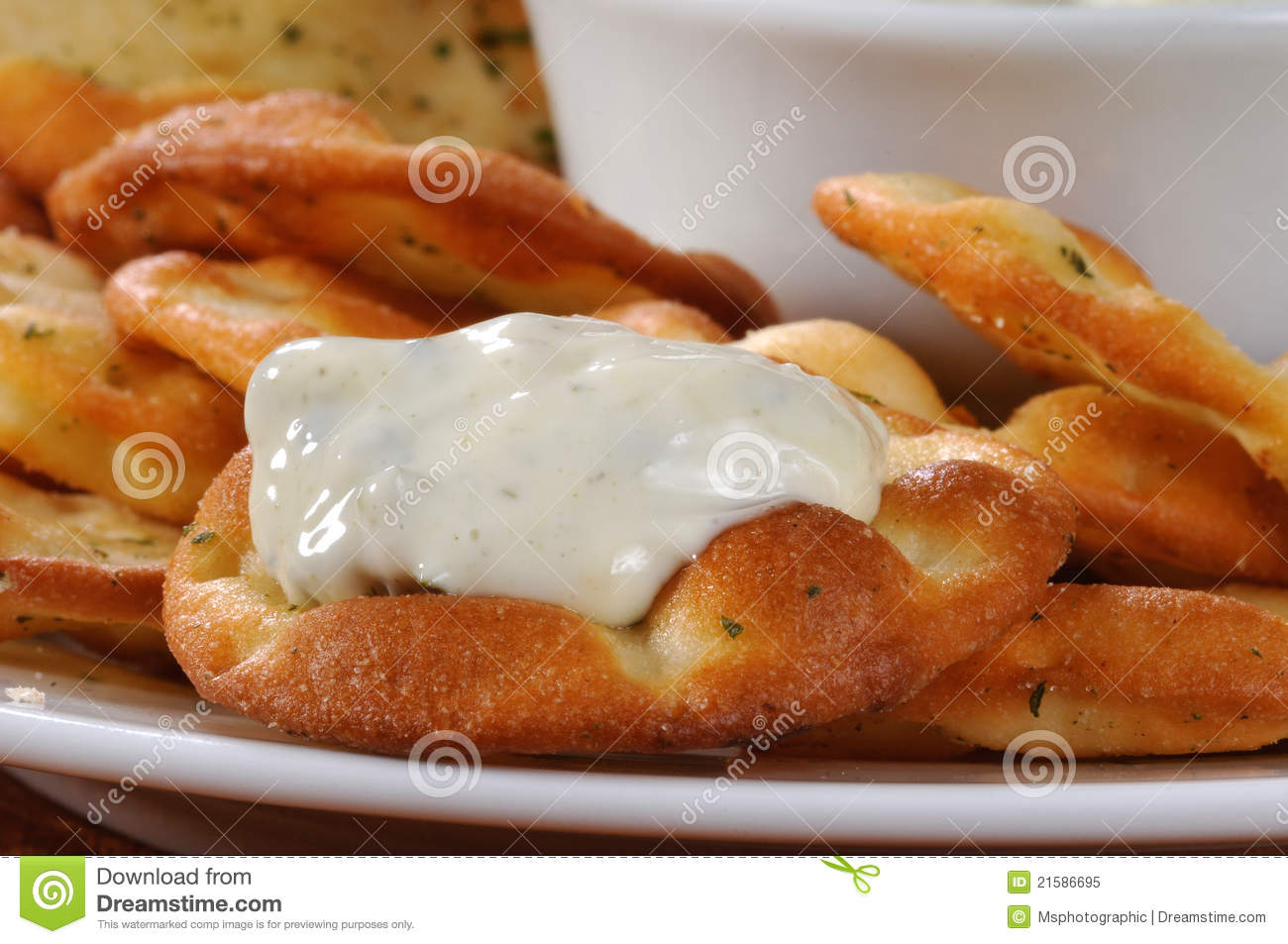 Spinach Dip On A Pita Cracker Royalty Free Stock Photo   Image