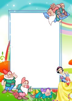 Transparent Kids Png Photo Frame With Snow White And Seven Dwarfs More