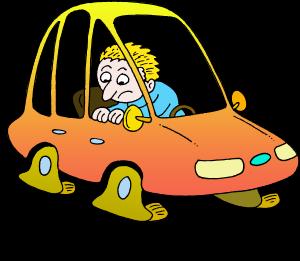 Cartoon Cars Flat Tires Clipart