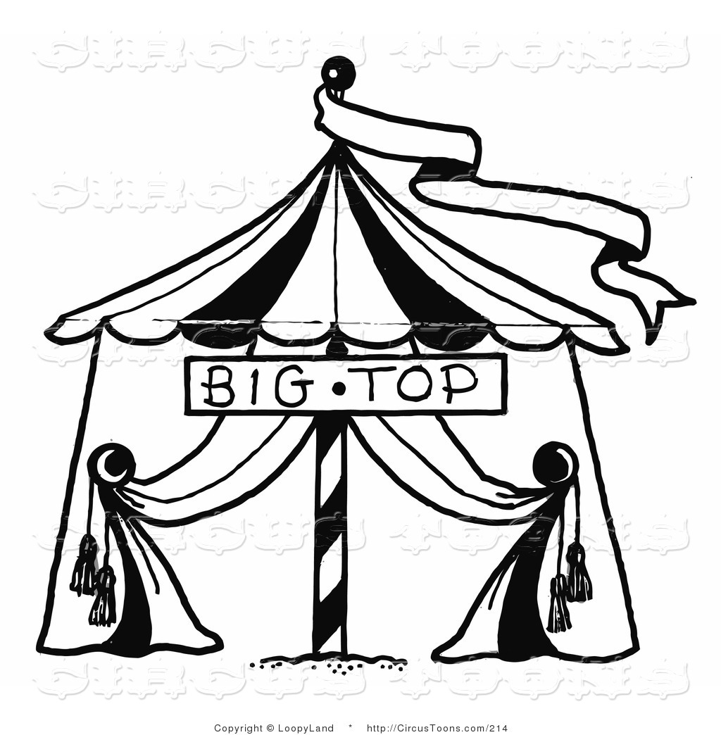Circus Clipart Of A Black And White Sketched Circus Big Top Tent And