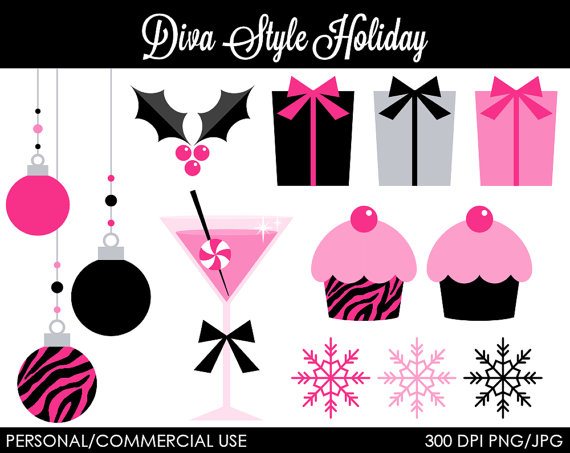 Diva Style Holiday Clipart   Digital Clip Art Graphics For Personal Or