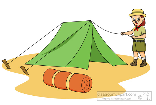 Outdoors   Girl Scout Setting Up A Tent Clipart   Classroom Clipart