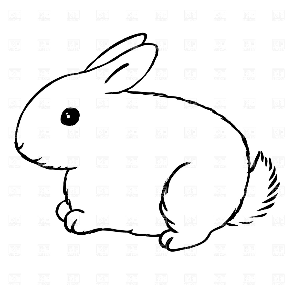 Bunny Black And White Clipart - Clipart Kid