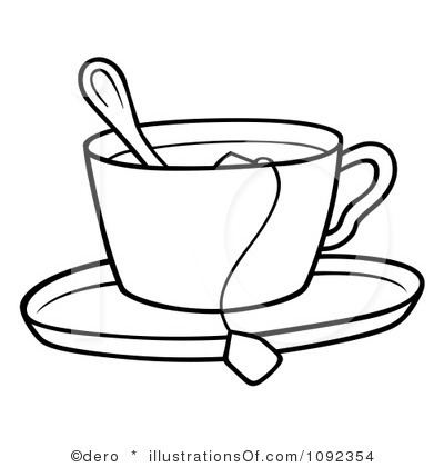 Tea Party Black And White Clipart - Clipart Kid