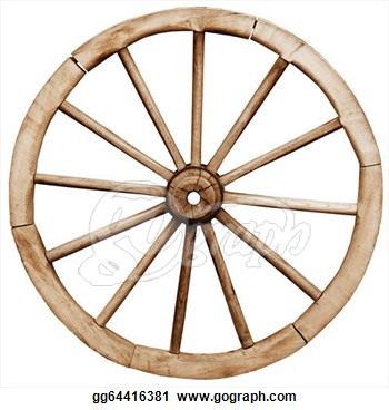 Telega Wheel Isolated On White Background  Clipart Drawing Gg64416381