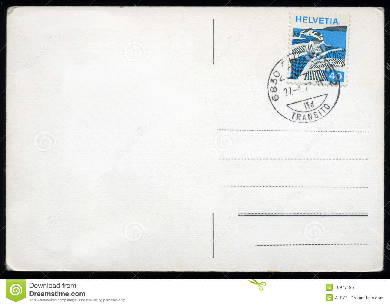 Blank Postcard From Switzerland With Stamp And Postage Meter