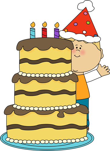 Cake Clip Art Image   Boy Standing Behind A Big Yellow Birthday Cake