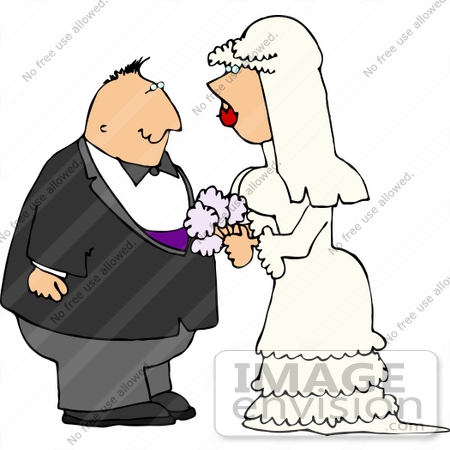 Clipart Of A Middle Aged Caucasian Man Marrying A Young Bride  The Man