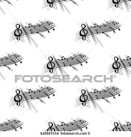 Clipart Of Music Score And Notes Background Seamless Pattern K20881554