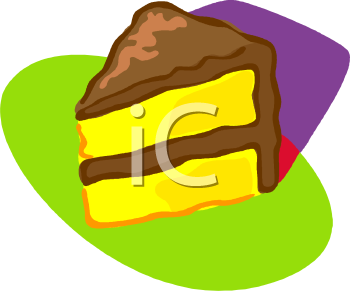 Clipart Picture Of A Slice Of Yellow Cake With Chocolate Frosting