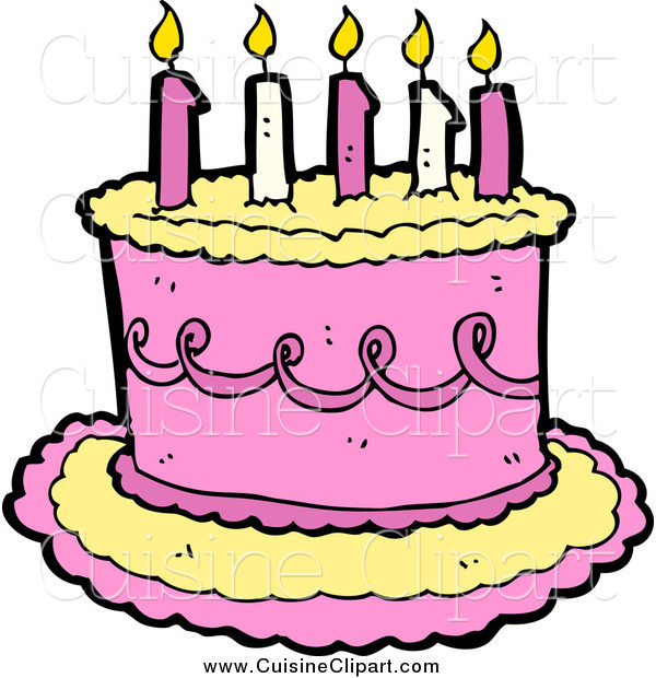 Cuisine Clipart Of A Yellow And Pink Birthday Cake With Candles By