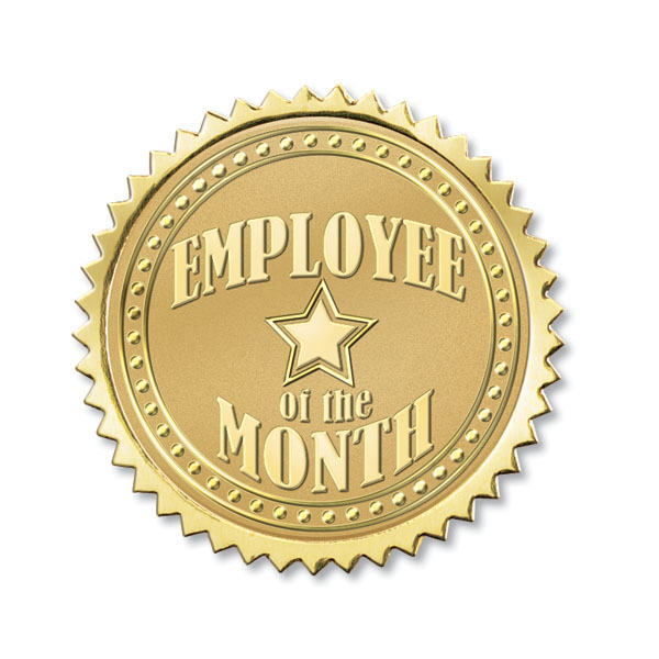 Employee Of The Month Foil Seals   Gold Foil Seals Recognize Employee
