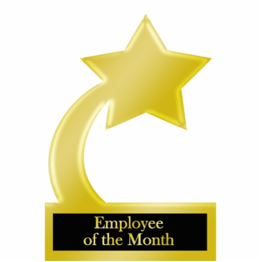 Employee Of The Month Gold Star Award Trophy Acrylic Cut Outs