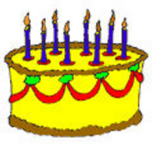 Free Clipart Picture Of A Yellow Frosted Birthday Cake With Blue