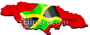 Jamaica With Jamaican Flag   Royalty Free Clipart Picture
