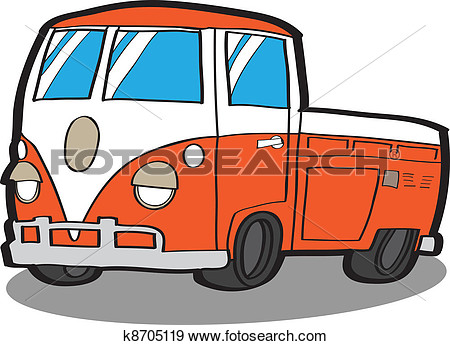 Minivan   Cartoon Car View Large Clip Art Graphic