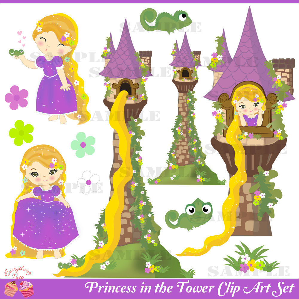 Rapunzel Tower Clip Art Princess In The Tower Clip Art Set By