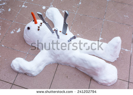 Snowman Lying Down Dead With Knives In The Chest  The End Of Winter