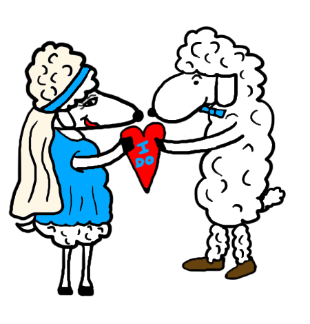 Wedding Bride And Groom Sheep Getting Married I Do Clipart Picture