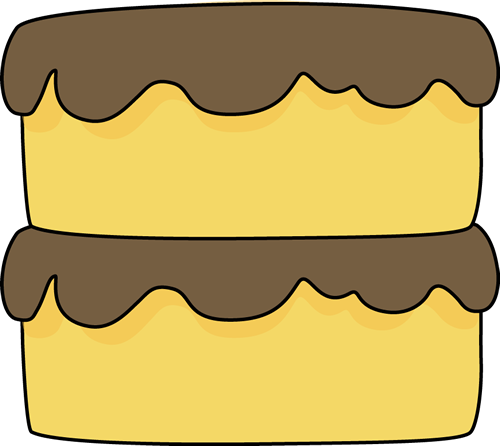Yellow Cake Clip Art Image   Two Tier Yellow Cake With Chocolate Icing