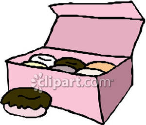 An Open Box Of Donuts With One Out Royalty Free Clipart Picture