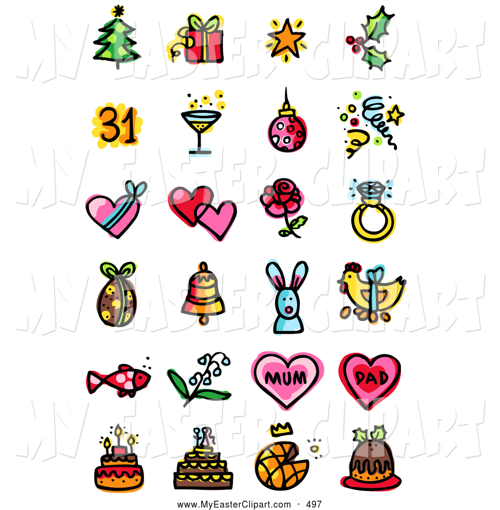 Clip Art Of A Digital Collage Of Various Holiday Icons  Christmas New