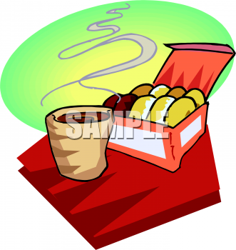 Clipart Image Of A Box Of Donuts With Coffee