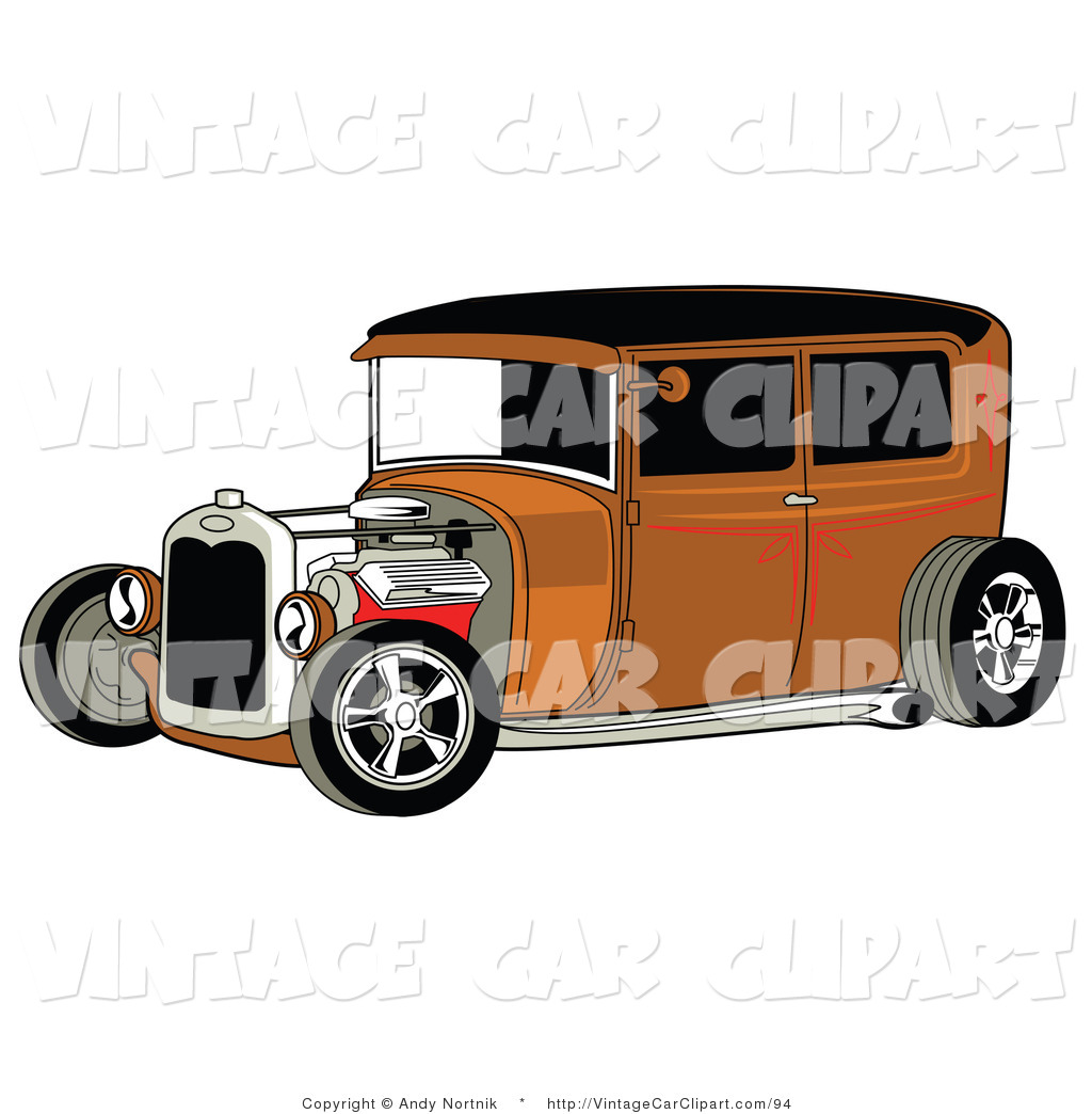 Clipart Of A Rust Brown Vintage Rat Rod Car With A Black Roof Open