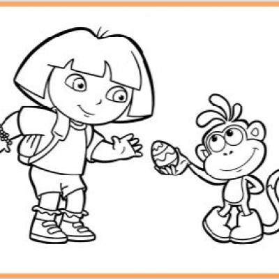 Dora black and white clipart clipart suggest for Dora and boots coloring page