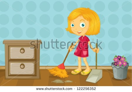 Kids Clean Room Clip Art Of A Girl Cleaning A Room