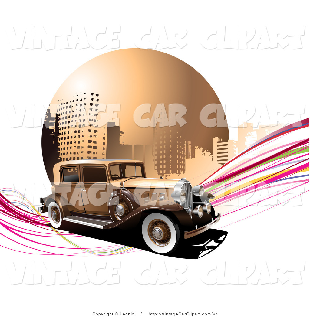 Larger Preview  Clipart Of A Brown Vintage Car On Pink Waves In Front