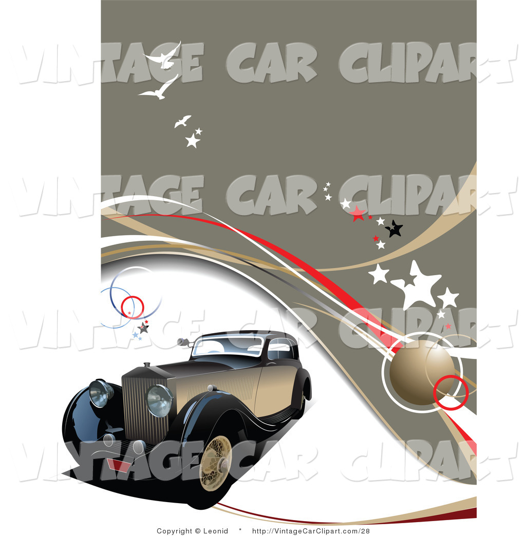 Larger Preview  Clipart Of An Antique Black And Brown Car On A Brown