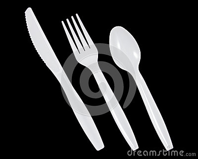 Plastic Knife Fork And Spoon On Black Background Mr No Pr No 2 80 2