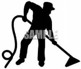 Silhouette Man Cleaning A Carpet Royalty Free Clipart Picture 090513