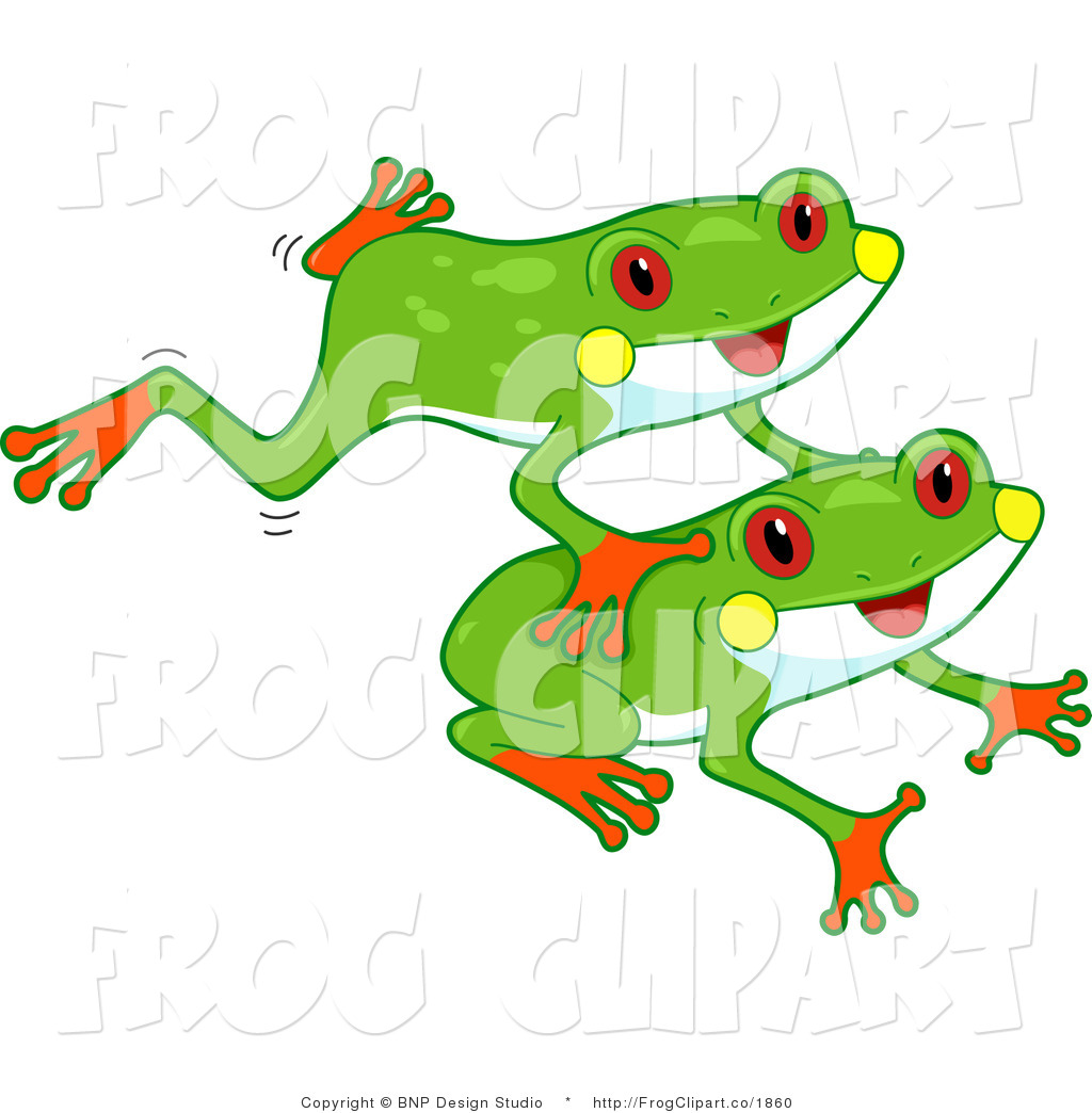 Clip Art Of Red Eyed Leaping Tree Frogs By Bnp Design Studio    1860