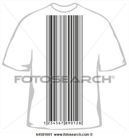 Clipart Of Fashionable T Shirt With Barcode K4581661   Search Clip Art