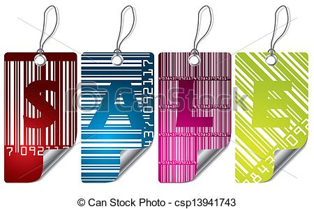 Cool Barcode Label Design Set With Bent Corner