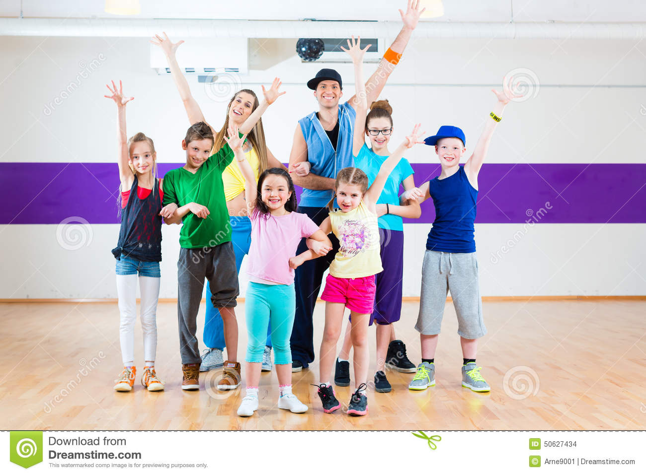 Dance Teacher Giving Kids Zumba Fitness Class Stock Photo   Image