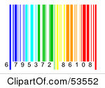 Free Rf Clipart Illustration Of A Rainbow Colored Barcode And Numbers