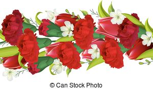 Horizontal Border With Carnations And Tulips Vector Illustration