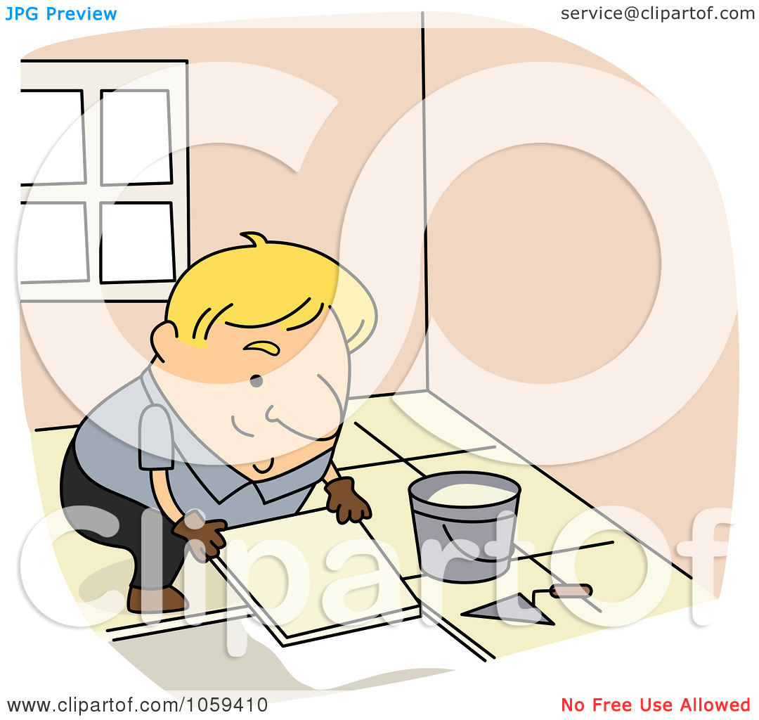 Royalty Free Vector Clip Art Illustration Of A Tile Setter By Bnp