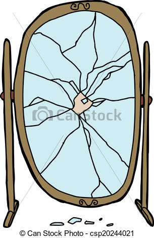 Single Broken Dressing Mirror On White    Csp20244021   Search Clipart