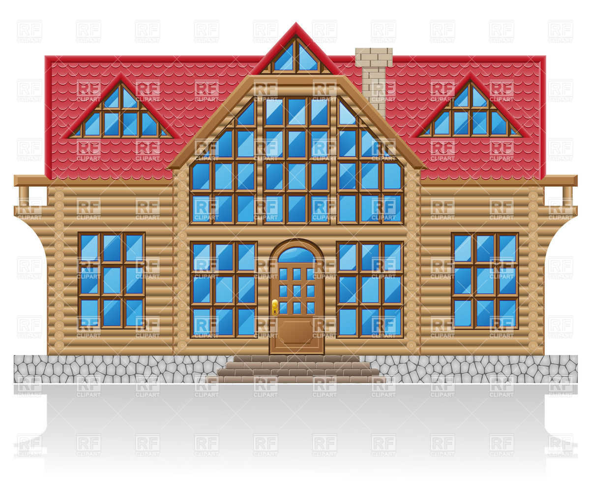 Wooden Log House Facade 19934 Download Royalty Free Vector Clipart