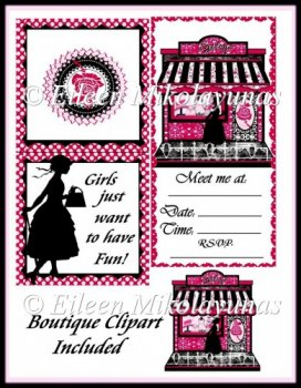 Art Singles    Girlfriend Shopping Invitation Card   Boutique Clipart