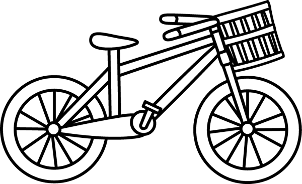 Black And White Bicycle With A Basket Clip Art Image   Black And White